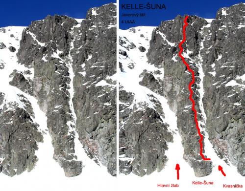 TOPO Javorový štít, žebro Kelle-Šuna (horolezci jsou v polovině výstupu).