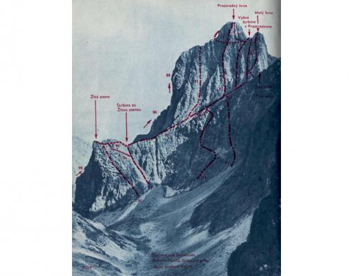 Prostredný hrot / Stredohrot (vpravo), Dubkeho lávka (uprostřed), Východný hrebeň (uprostřed nahoře), Žltá stena (vlevo).
