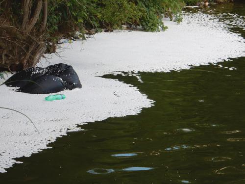 Na hladině Hostivařské přehrady plave vysypaný polysteren.