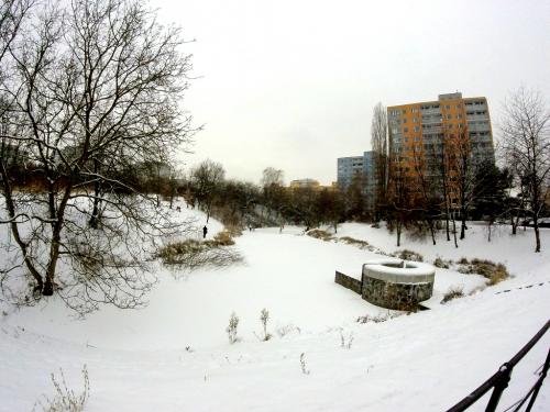 Praha, bruslení na Chodovci.