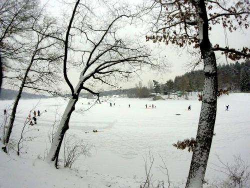 Hostivařská přehrada v zimě.