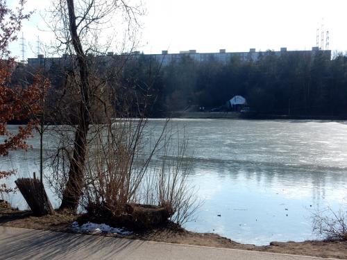 Hamerský rybník v Záběhlicích teprve zamrzá.