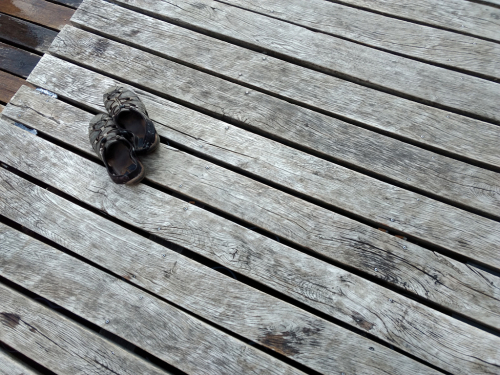 Molo na Hostivařské přehradě.